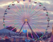 Fine Art Photo, Ferris Wheel Photo, Sunset, Carnival Ride, Whimsical Art, Purple, Colorful, Summer, Magical, Carnival Art, Square 8x8 Print