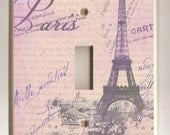 Single Toggle Light Switch Plate - Lavender Paris Eiffel Tower and Love Letters