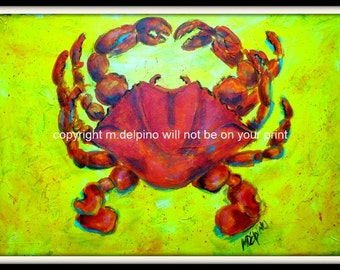 RED CRAB print of original painting nautical shore beach ocean seashell seafood shellfish canvas bold colorsblue green orange