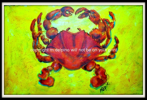 RED CRAB print of original painting nautical shore beach ocean seashell seafood shellfish canvas bold colorsblue green orange