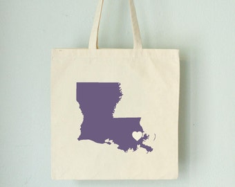 RESERVED FOR Shauntel Louisiana LOVE Tote New Orleans Purple state silhouette on natural bag
