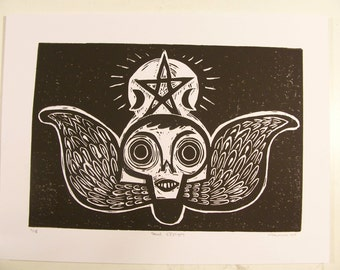 Soul Effigy winged skull hand pulled black and white original linocut inspired by carved tombstones