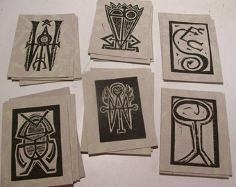 Magic Sigils Set of 6 Glow in the Dark Hand Printed Mystic Linocut Symbols for Self Improvement with Instructions fortune telling folk art