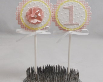 Gingham Cupcake Toppers- Set of 12- Girl 1st Birthday