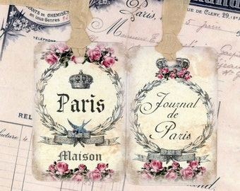 Tags , Shabby Paris Tags , French Tags , Vintage Style , Journal de Paris , Wedding Tags , Bridal Shower , Crown , Bluebird