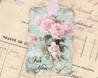 Romantic Roses Gift Tags , For You Tags , Shabby Pink Roses , Pink and Aqua Tags , Wedding Gift Tags , Bridal Shower Tags , All Occasion Tag