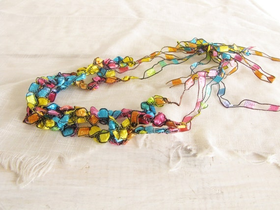 Crochet Necklace Rainbow Colors Fancy Yarn Necklace Blue Pink Yellow Fabric Jewelry Handmade Jewelry
