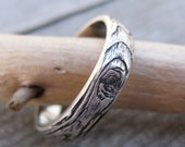 woodgrain ring MEDIUM PLYWOOD 5mm width made to order sterling silver
