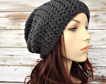 Grey Mens Hat Grey Womens Hat - Memphis Slouchy Beanie Hat Charcoal Grey Crochet Hat Grey Hat Grey Beanie Womens Accessories - READY TO SHIP