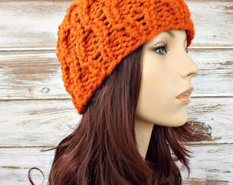 Knit Hat Womens Hat - Amsterdam Cable Beanie in Pumpkin Orange Knit Hat - Orange Hat Orange Beanie Womens Accessories - READY TO SHIP
