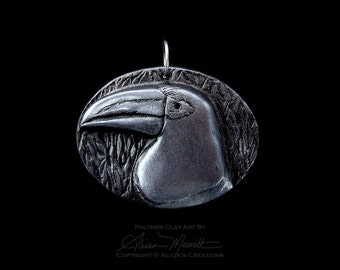 Unique Aracari Toucan Medallion in Antique Pewter Finish Clay Bird Art Pendant (no chain or cord)