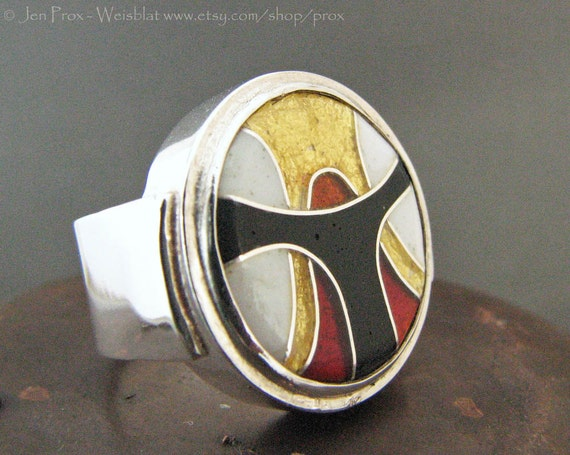 Reserved Payment 3/3 - Cloisonne Enamel cocktail statement Ring size 6.5 in red white and black and accented with 24k gold