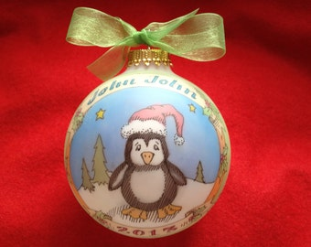 Adorable Baby Penguin, Handpainted, Personalized Ornament, Original Design