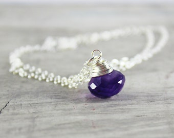 Dark Purple Necklace, Sterling Silver Necklace, Amethyst Gemstone Necklace, Wire Wrap Necklace, Pendant Drop Necklace, February Birthstone