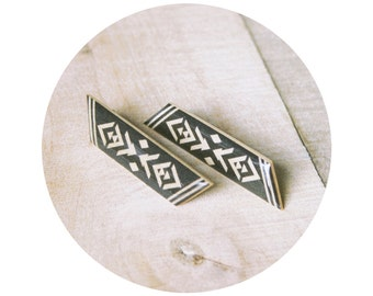 Sangita Post Earring - Tall Wooden Geometric Post in Black and White or Sand Multi Large Satement