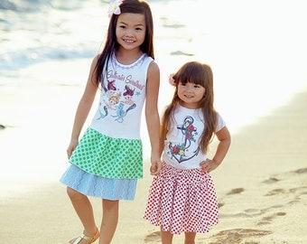 Anchor Roses Polka Dot Skirt Set Red White 2T 3T 4T 5 6 7 8 10 12 14 16