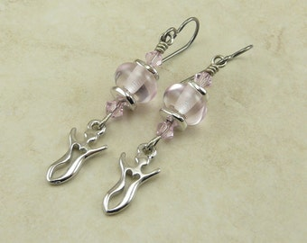 Pink Goddess Lampwork Bead Earrings > Breast Cancer Awareness Pink - Sterling Silver French Ear Wires