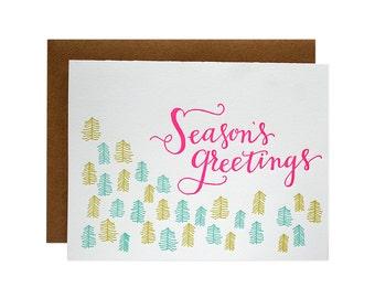 Set of 6 - Season's Greetings Letterpress Card
