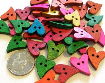 Buttons (B49) Ten Primative Heart Shaped Wooden Buttons Assorted Colors for Crafts Scrapbooking Sewing Knitting and Crochet