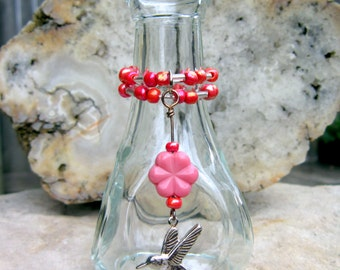 Mini Glass Flower Vase with Beads and Charm