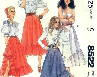 McCall's 8522 Hiked Ruffled Skirt Square Dance, Country Western, Rodeo Size 12