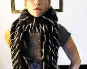 Cruella de Awesome mod black and white faux fur scarf Sample Sale