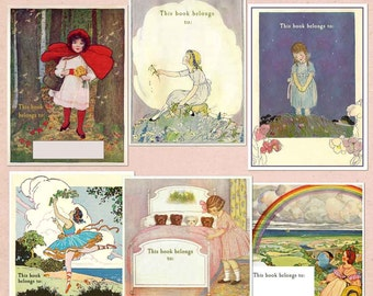 Vintage Bookplates - Assorted Little Girls Book Plates - Mixed BLANK Book Plates, Ex Libris