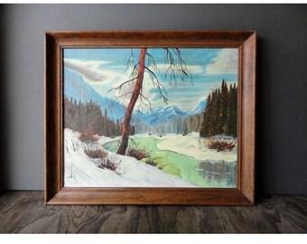Vintage Winter Scene Painting - Large Bold Landscape Painting -