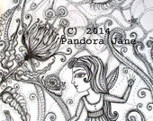 Fae Garden Under the Moon Colouring Page Instant Download