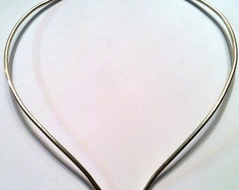 """Heavy Neck Ring, Any Size (16"""", 18"""", 20"""") Solid, Sterling Silver, Choker, Handmade"""
