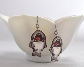 SHARKS Earrings and Necklace - LAST PAIR