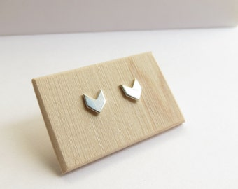Chevron Studs in Sterling Silver
