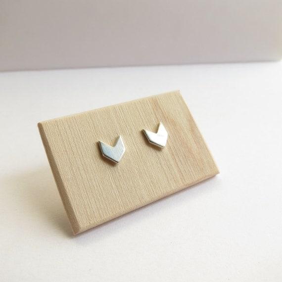 Chevron Studs in Sterling Silver. Minimalist Sterling Silver Studs. Silver Stud Earrings. Chevron Earrings.
