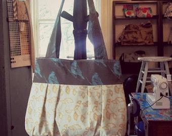 Aqua Bird and Ginko Shoulder Bag - 3 pockets - Key Fob