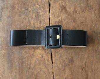 black leather belt / wide belt / chunky leather belt