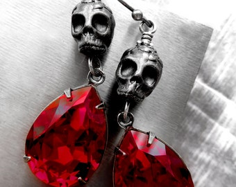Black Skull Earrings, Blood Red Crystal Teardrops, Halloween Earrings, Dia De Los Muertos, Day of Dead, Punk Rocker Goth Gothic Jewelry