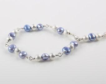 Lavender Freshwater Pearls Bracelet, Flower Girl Bracelet, Bridesmaid Bracelet