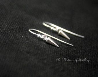 Tiny sterling silver earrings- spike, hook