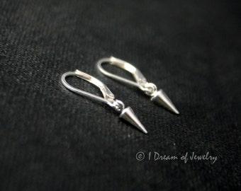Tiny sterling silver earrings- spike, leverback
