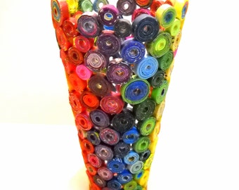 Rainbow Vase Eco Friendly Art Upcycled from Magazines, Junk Mail, etc.