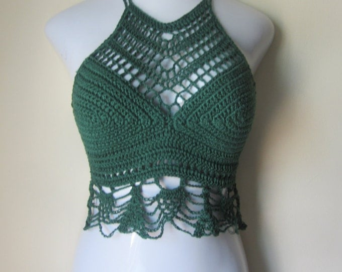Crochet halter top, High neck, Pine/Forest Green, festival,boho chic, beach cover up, gypsy top, cotton