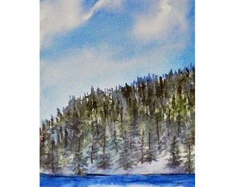 High Country Snow Flurries, Mountain Lake, Woodland Winter Art, Watercolor Original Painting, Icy Mist, 11 x 7 inches