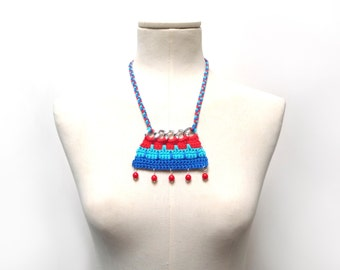 Crochet Cotton and Chain Necklace Choker - Color Block Statement Necklace - Silver chain with red, turquoise, blue cotton