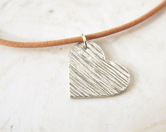 Silver Heart Necklace Handmade Pendant Woodgrain Textured Fine Silver Rustic Jewelry Natural Tan Leather Cord Sterling Clasp OOAK Jewelry