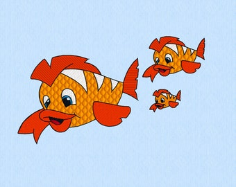 Clown Fish Machine Embroidery Design File in 3 sizes