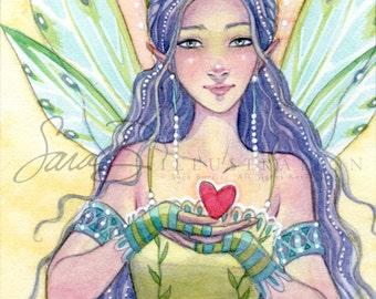 Fairy Art Print - Mini Small Print Fairy Princess Heart - ACEO