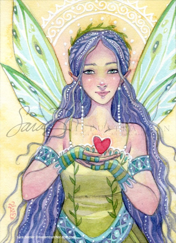 Fairy Art Print - Mini Small Print Fairy Princess Heart - ACEO