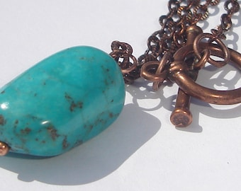 Turquoise nugget on bronze necklace hand made wire wrapped design by Ziporgiabella