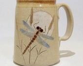 Dragonfly and Moon Mega Pottery Coffee  Mug Limited Series 166 lg 24 ounce
