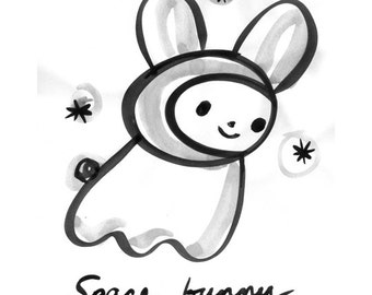 Space Bunny print of sumi ink artwork 8x10